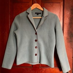 Boden structured fleece blazer size 10 blue